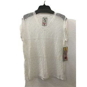 NWT Johnny Was Womens White Embroidered V-Neck Top